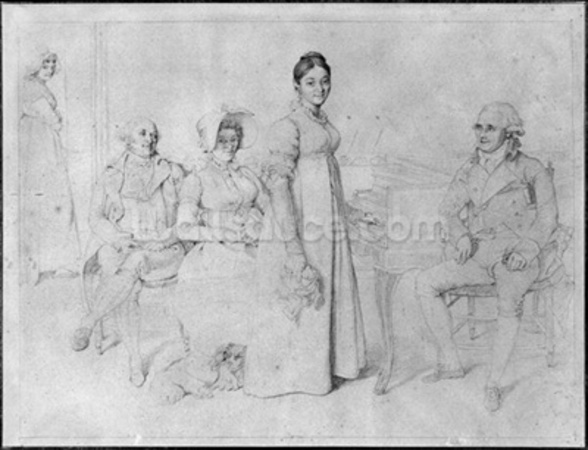 The Forestier Family (graphite on paper) (b/w photo) (see also 233241) wall mural