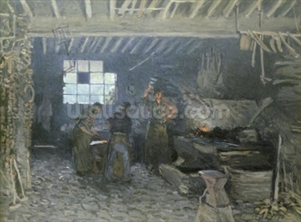 The Forge at Marly-le-Roi, Yvelines, 1875 (oil on canvas) mural wallpaper