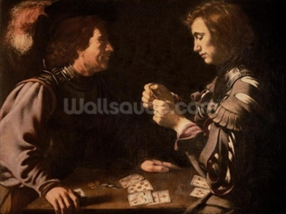 The Gamblers (oil on canvas) mural wallpaper