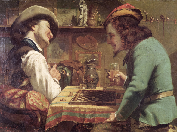 The Game of Draughts, 1844 (oil on canvas) wallpaper mural