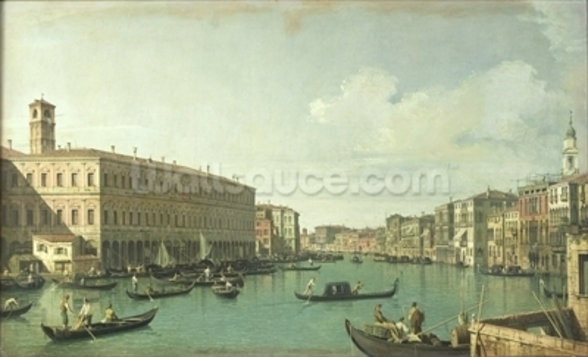 The Grand Canal from the Rialto Bridge (oil on canvas) wall mural