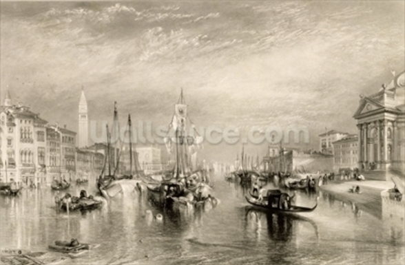 The Grand Canal, Venice, engraved by William Miller (1796-1882) 1838-52 (engraving) wall mural