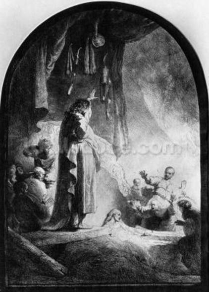 The Great Raising of Lazarus (etching) (b/w photo) wallpaper mural