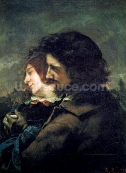 The Happy Lovers, 1844 (oil on canvas) wallpaper mural