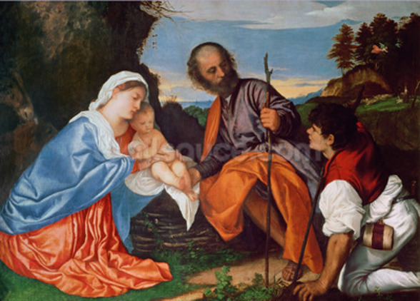 The Holy Family and a Shepherd, c.1510 (oil on canvas) wall mural
