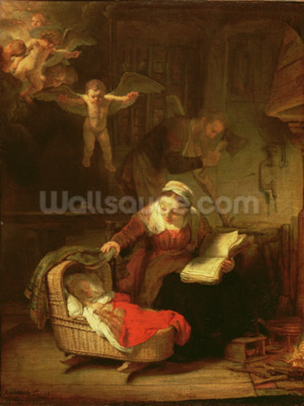 The Holy Family, c.1645 (oil on canvas) wallpaper mural