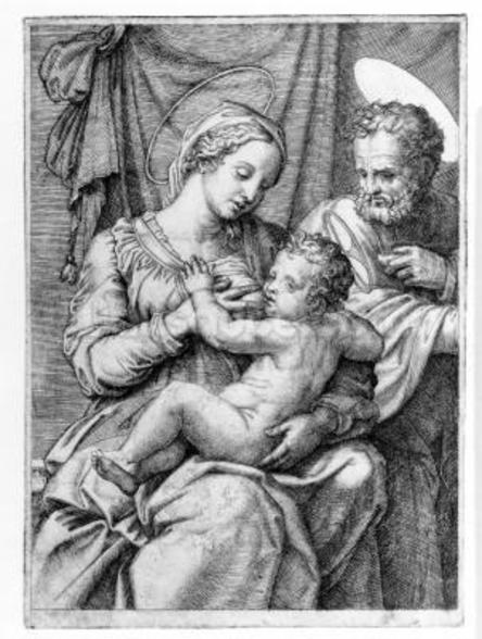 The Holy Family, engraved by Marcantonio Raimondi, c.1515 (engraving) mural wallpaper