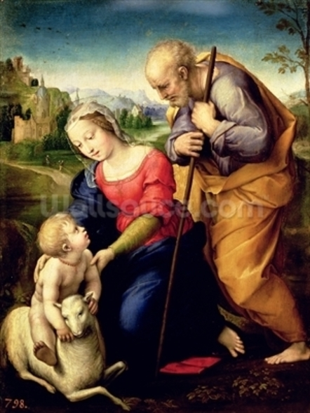 The Holy Family with a Lamb, 1507 (oil on panel) wallpaper mural