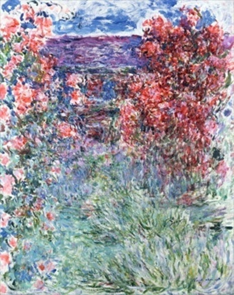 The House at Giverny under the Roses, 1925 (oil on canvas) wallpaper mural