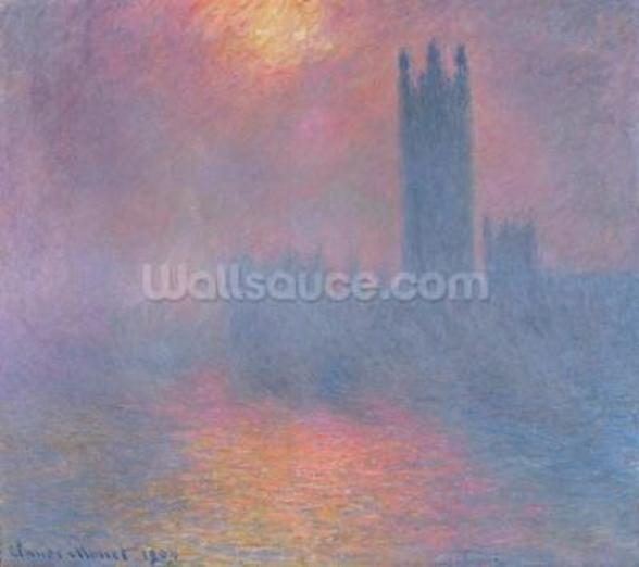 The Houses of Parliament, London, with the sun breaking through the fog, 1904 (oil on canvas) wallpaper mural