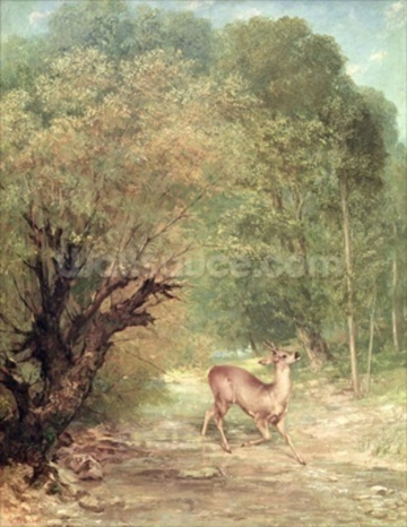 The Hunted Roe-Deer on the alert, Spring, 1867 wallpaper mural