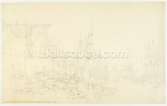 The Hurries, coal boats loading, North Shields, c.1795 (graphite on paper) wall mural