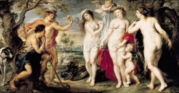 The Judgement of Paris, 1639 (oil on canvas) wallpaper mural