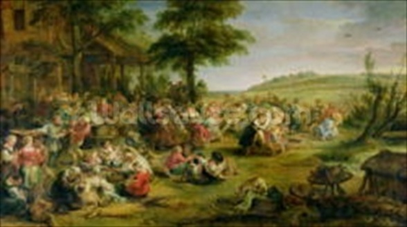 The Kermesse, c.1635-38 (oil on panel) mural wallpaper