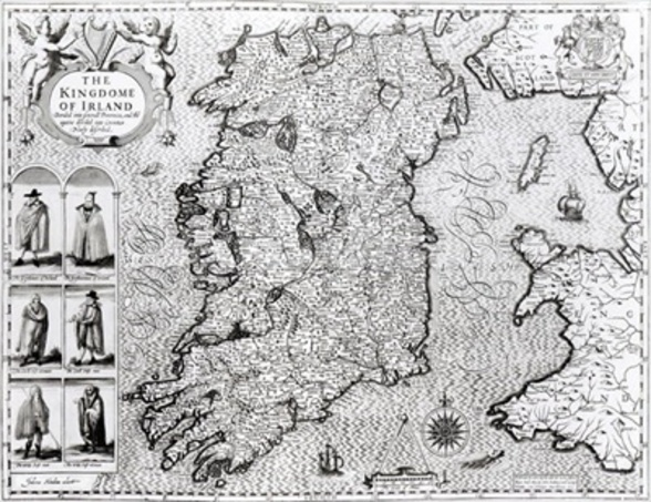 The Kingdom of Ireland, engraved by Jodocus Hondius (1563-1612), Theatre of the Empire of Great Britain, pub. by John Sudbury and George Humble, 1611-12 (engraving) (b&w photo) (see 108099 for detail) wall mural