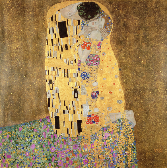 The Kiss, 1907-08 (oil on canvas) wall mural