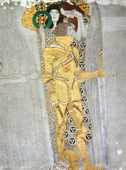 The Knight detail of the Beethoven Frieze, said to be a portrait of Gustav Mahler (1860-1911), 1902 (fresco) mural wallpaper