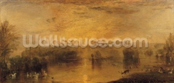 The Lake, Petworth: Sunset, a Stag Drinking, c.1829 wall mural