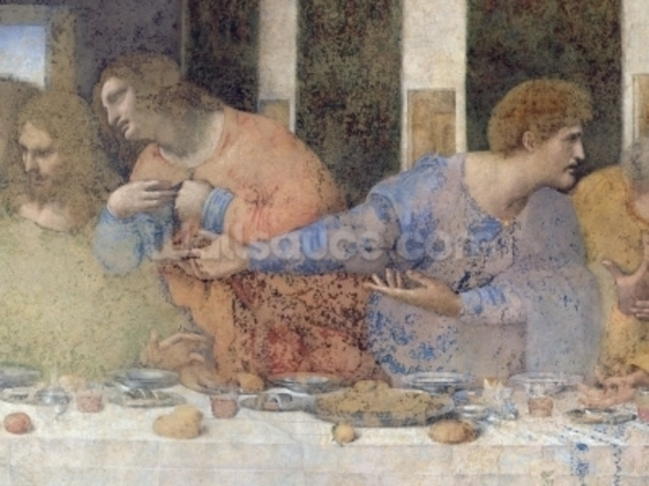 The Last Supper, 1495-97 (fresco) (post restoration) (detail of 227198) wall mural