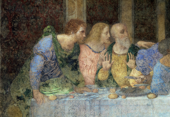The Last Supper, 1495-97 (fresco) (post restoration) wallpaper mural