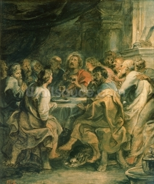 The Last Supper, c.1630-31 (oil on panel) mural wallpaper