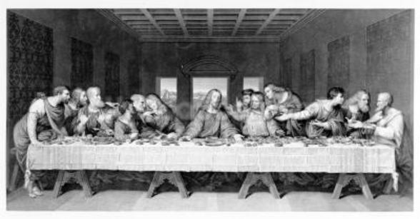 The Last Supper, engraved by Frederick Bacon, 1863 (engraving) wall mural