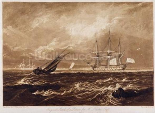 The Leader Sea Piece, engraved by Charles Turner (1773-1857) 1859-61 (engraving) wall mural