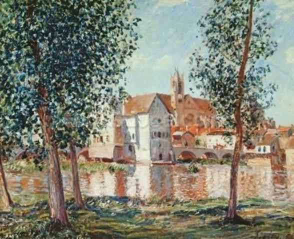The Loing at Moret, September Morning (oil on canvas) wall mural