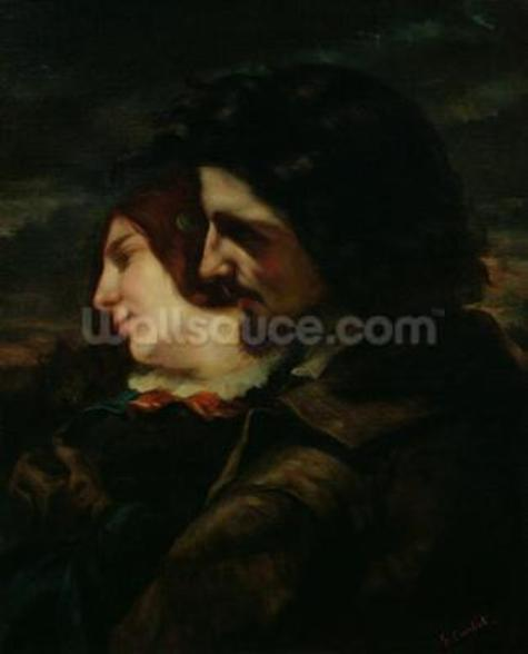 The Lovers in the Countryside, after 1844 (oil on canvas) mural wallpaper