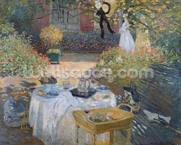 The Luncheon: Monets garden at Argenteuil, c.1873 (oil on canvas) mural wallpaper