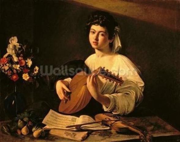 The Lute Player, c.1595 (oil on canvas) wallpaper mural