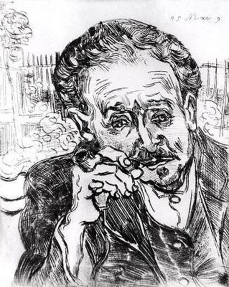 The Man with the Pipe, Portrait of Doctor Paul Gachet (1828-1909) 15th March 1890 (etching) (b/w photo) wall mural