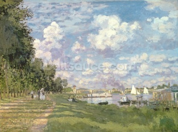 The Marina at Argenteuil, 1872 (oil on canvas) mural wallpaper