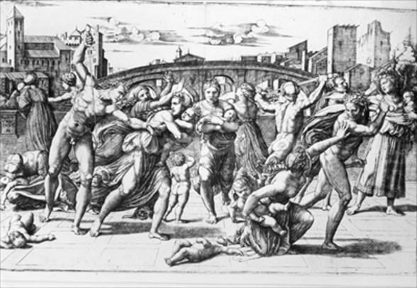 The Massacre of the Innocents, engraved by Marcantonio Raimondi (engraving) (b/w photo) wall mural
