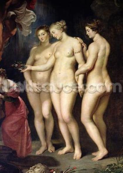The Medici Cycle: Education of Marie de Medici, detail of the Three Graces, 1621-25 (oil on canvas) wallpaper mural