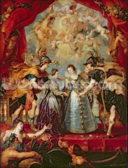 The Medici Cycle: Exchange of the Two Princesses of France and Spain, 9th November 1615, 1621-25 (oil on canvas) wallpaper mural