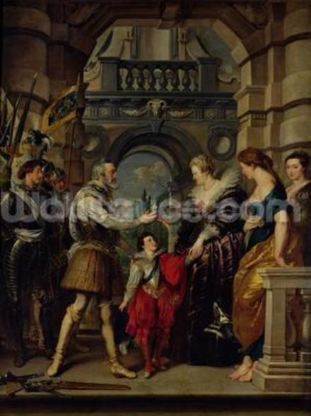 The Medici Cycle: Henri IV (1553-1610) leaving for the war in Germany and bestowing the government of his kingdom to Marie de Medici (1573-1642) 20th March 1610, 1621-25 (oil on canvas) wall mural
