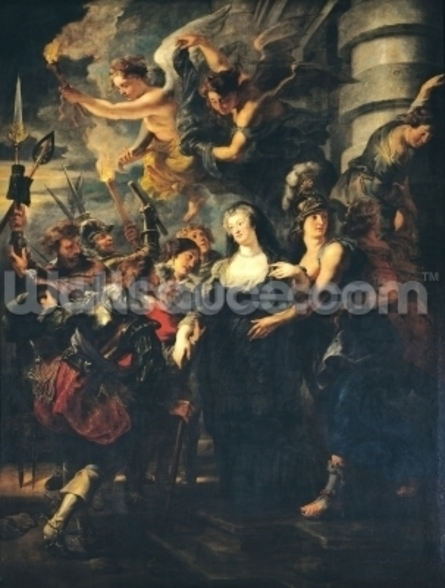 The Medici Cycle: Marie de Medici (1573-1642) Escaping from Blois, 21st-22nd February 1619, 1621-25 (oil on canvas) wallpaper mural