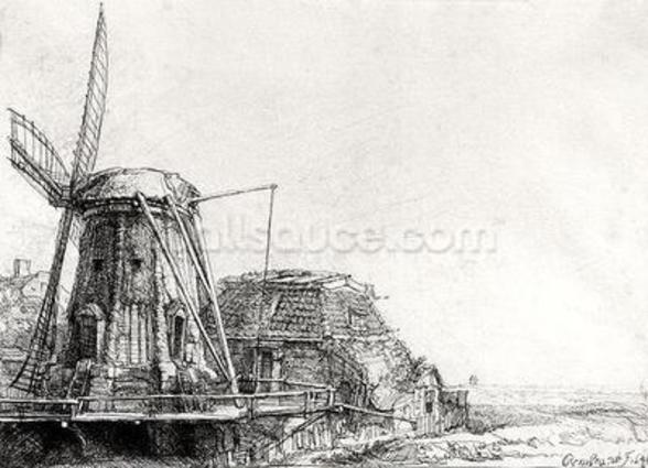 The Mill, 1641 (engraving) (b/w photo) wall mural