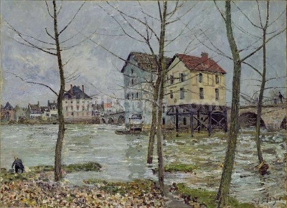 The Mills at Moret-sur-Loing, Winter, 1890 wall mural