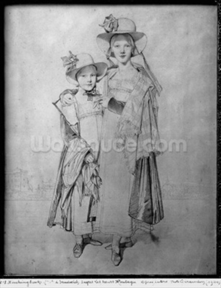 The Montagu Sisters in Rome, 1815 (graphite on paper) (b/w photo) mural wallpaper