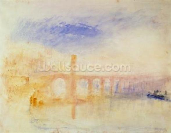 The Moselle Bridge, Coblenz, c.1842 (w/c & graphite on paper) wall mural