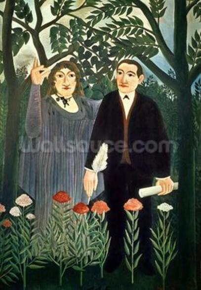 The Muse Inspiring the Poet, 1909 (oil on canvas) mural wallpaper