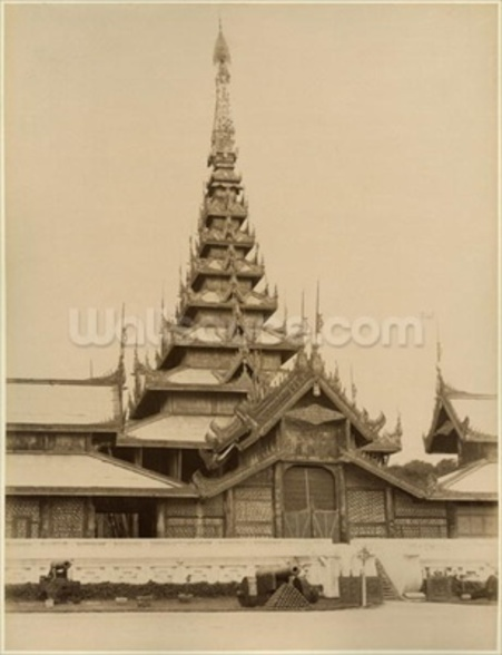 The Myei-nan or Main Audience Hall in the palace of Mandalay, Burma, late 19th century (albumen print) (b/w photo) wall mural