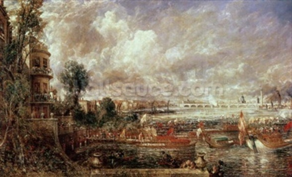 The Opening of Waterloo Bridge, Whitehall Stairs, 18th June 1817 (oil on canvas) wall mural
