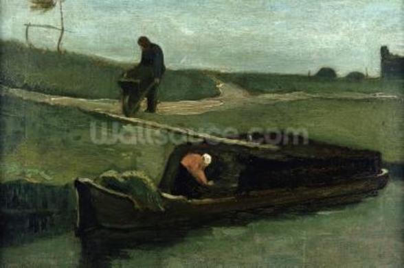 The Peat Boat, 1883 (oil on canvas) wallpaper mural