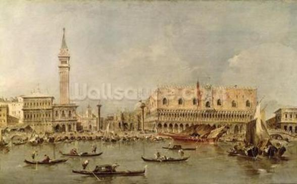 The Piazzetta and the Palazzo Ducale from the Basin of San Marco (oil on canvas) wall mural