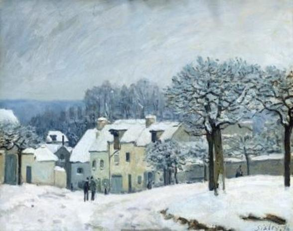 The Place du Chenil at Marly-le-Roi, Snow, 1876 (oil on canvas) mural wallpaper