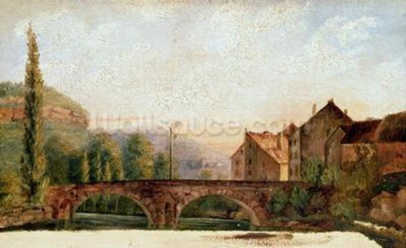 The Pont de Nahin at Ornans, c.1837 (oil on canvas) wall mural