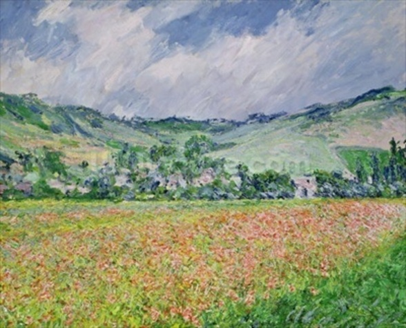 The Poppy Field near Giverny, 1885 (oil on canvas) wallpaper mural
